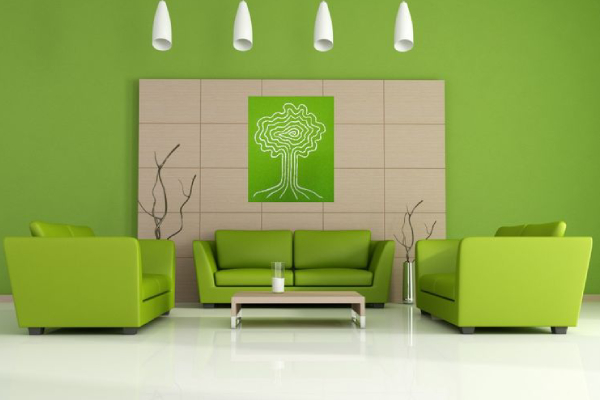 Modernized living room wall painted in green color with green sofa and lights