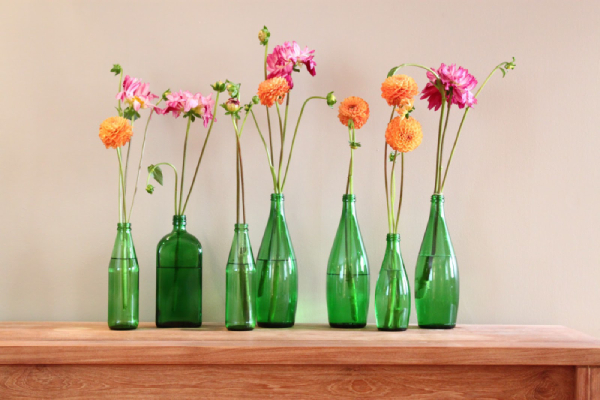 set of Colorful flowers with green color vases