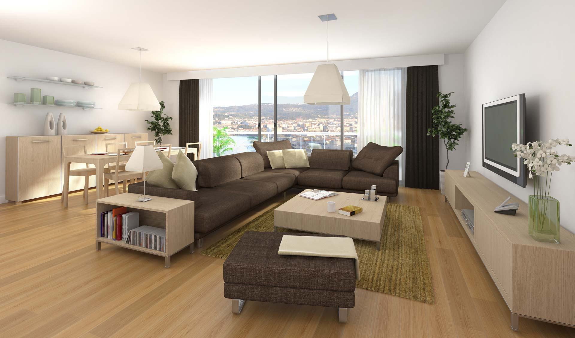 Modernized living room with sofa and furnitures