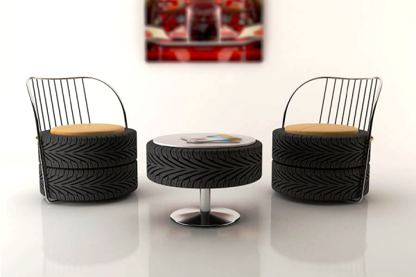 Upcycled Furnitures - Small tire coffee tables