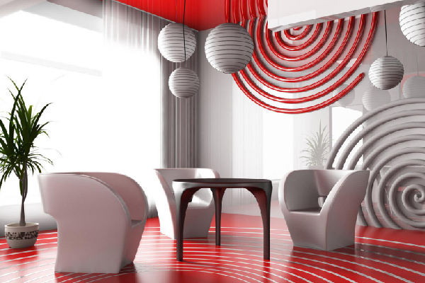 Interior design for a modern room wall - red and white color furnitures