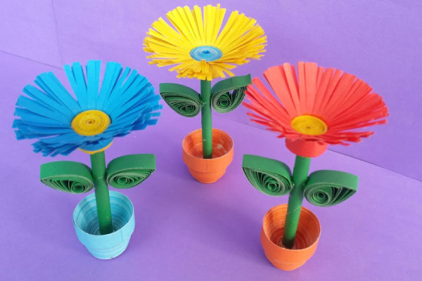Colorful craft flowers with pot for home decoration