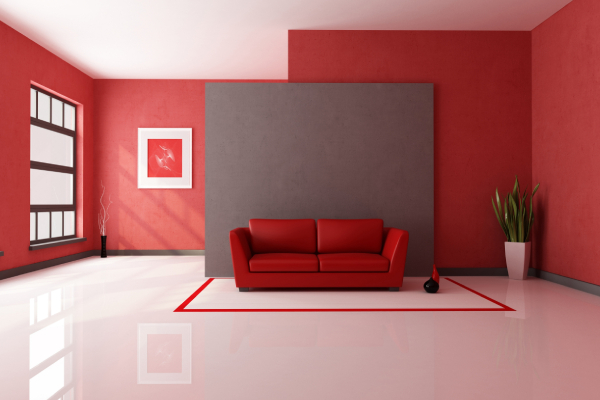 Modern living room and furnitures painted in red color
